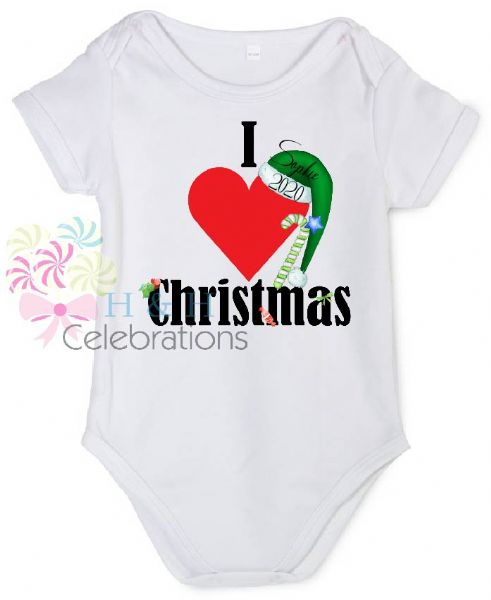 I Heart Christmas Personalised Baby Vest